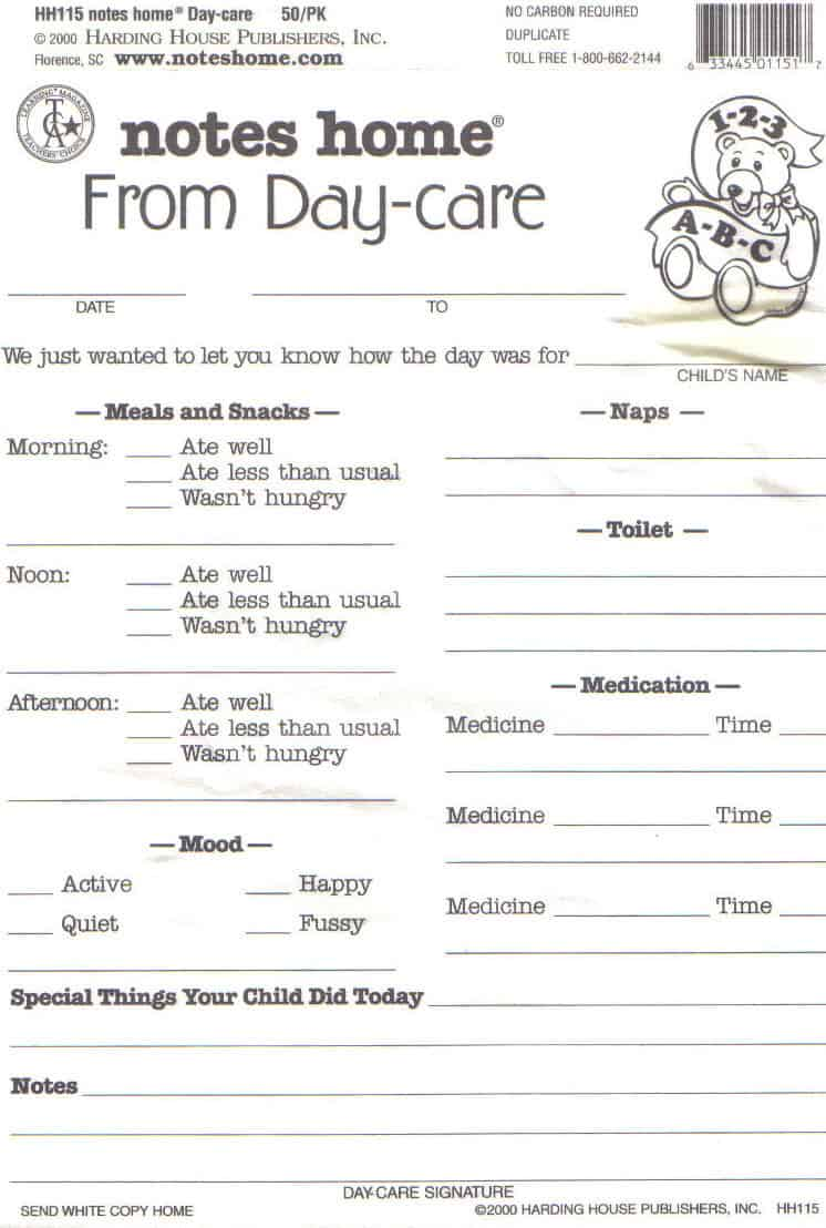 Daycare Daily Report Sheets Infant Reports For Printable...I like this ...